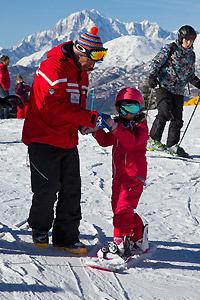 Una lezione di snowboard